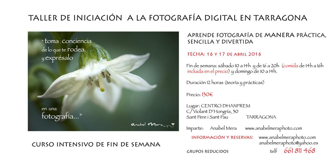 Cartel Curso Fotografía fin de semana Tarragona